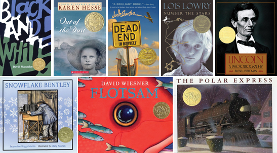 Caldecott/Newbery winners spotlight. Top row (from L to R): Black and White by David Macauley, Out of the Dust by Karen Hesse, Dead End in Norvelt by Jack Gantos, Number the Stars by Lois Lowry, Lincoln: A Photobiography by Russell Freedman. Bottom (from L to R): Snowflake Bentley by Mary Azarian, Flotsam by David Wiesner, and The Polar Express by Chris Van Allsburg.