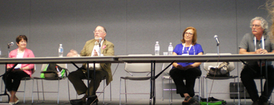 A program on improving your salary negotiation skills. From left to right: Maureen Sullivan, Dale McNeill, Kathryn Kjaer, and Leo Agnew