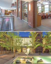 (Top) Darien (Conn.) Library glass-enclosed atrium and staircase. (Bottom) The library's entryway. (Photo: Robert Mintzes)