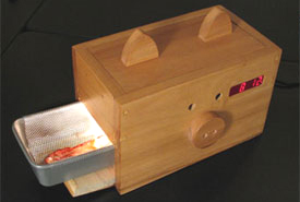 A sign of the maker times: the bacon alarm clock.