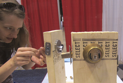 "Learning lock-picking at Maker Monday (""in case kids lock you out of the meeting room"")"