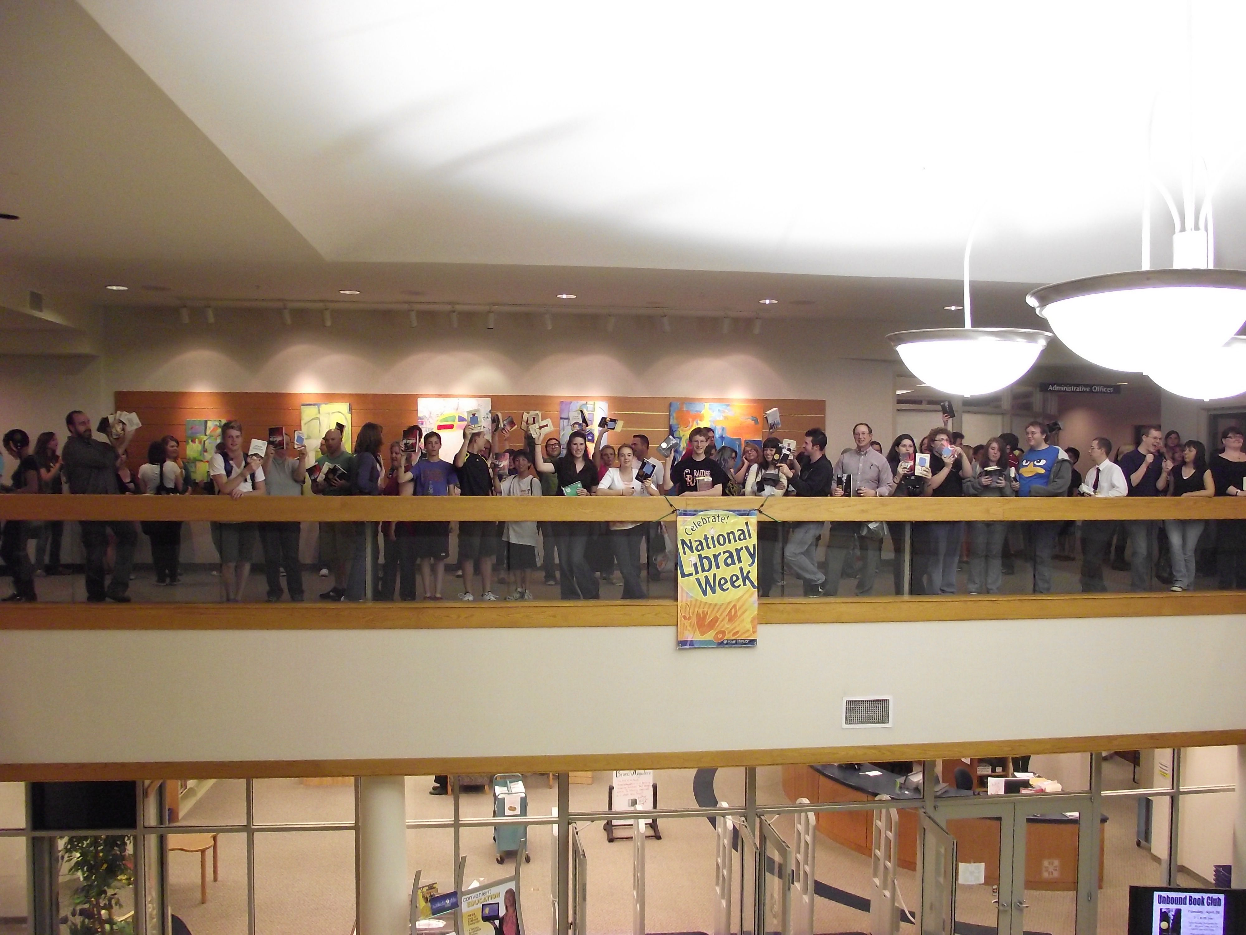 Fans of John Green line the balcony of Plainfield–Guilford Township (Ind.) Public Library to await a program where the teen fiction author spoke about his books and the importance of libraries in the world we live in.