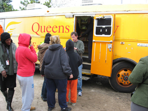 Following Hurricane Sandy, Queens Library sent a Book Bus to the Rockaways to provide FEMA information as well as books, warmth, and power outlets
