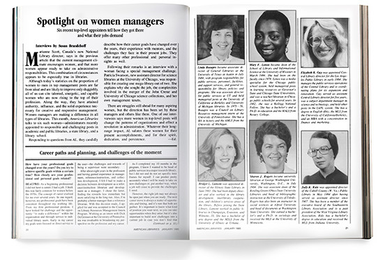 """An article titled """"Spotlight on Women Managers"""" that was featured in the January 1985 issue of American Libraries."""