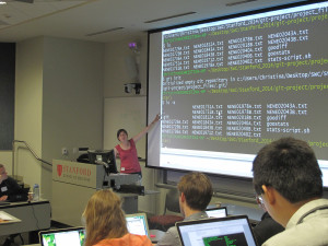 Christina Koch from Software Carpentry instructs a course on Git during a weekend-long training session at Stanford University in California. Many universities and their libraries are offering coding courses to their students, including graduate students, who are finding the workshops helpful in their research.