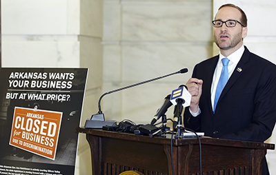 Chad Griffin, president of Human Rights Campaign, speaks at a press conference on March 26 in the Rotunda of the Capitol of the State of Arkansas, in Little Rock, Arkansas