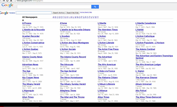 Screenshot from Google Newspaper Archive video