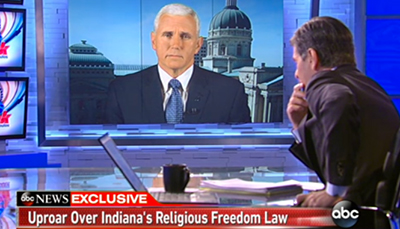 "Indiana Gov. Mike Pence, grilled by George Stephanopoulos Sunday on ABC's ""This Week."""