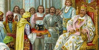 An emissary of Harun al-Rashid presents the Emperor Charlemagne with a mechanical water clock