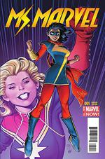 Kamala Khan (center) on a variant cover of Ms. Marvel #1 (February 2014). Art by Arthur Adams