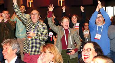 ALA Midwinter Exhibits attendees react as the Youth Media Awards are announced honoring the top youth authors and illustrators