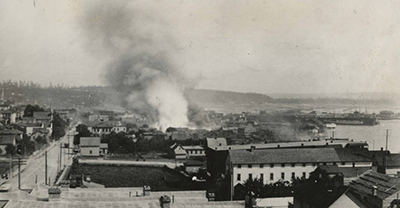 Seattle Fire. June 5, 1889. Looking south from Second Ave. and Pike St. Photo by Asahel Curtis.