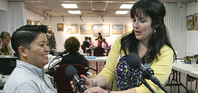 Setting up a StoryCorps microphone
