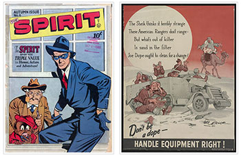 The Spirit, Winter issue, no. 7, 1945, and a poster from 1942, both drawn by Will Eisner.