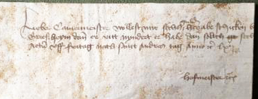 "This scrap from Leiden, Netherlands, in 1461 was written by the chamberlain (""hofmeister"") and it requests the amount of six guilders from the duke, whose servant is the recipient of the message"