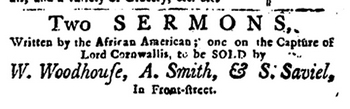 Advertisement for a sermon by an African American, 1782