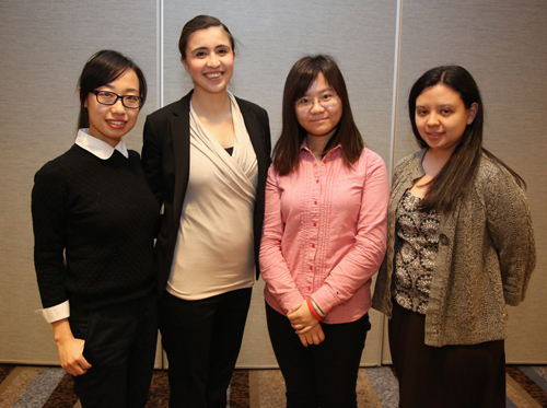 Team B. From left: Ximin Mi, Isabel Gonzalez-Smith, Xiaoyu Duan, Jennifer Nabzdyk