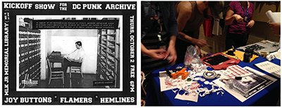 Left: Flier from the first DC Punk Archive Library Basement Show at MLK Jr. Memorial Library October 2, 2014. Right: Photo of the messy DIY merch table at the first Library Basement Show