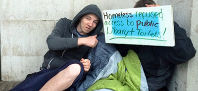Homeless protesters in Manchester have been banned from entering the public library. Photograph by Helen Pidd