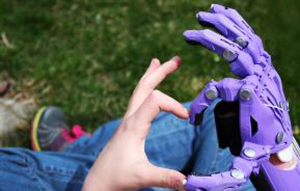 An e-NABLE prosthetic hand. Photo from enablingthefuture.org