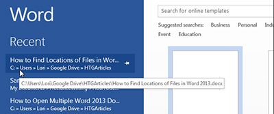 Find Word files