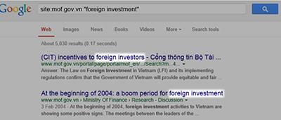 Google site:operator search