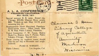 Travel arrangements to the 1911 ALA Conference in Pasadena