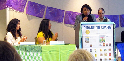 Sylvia Mendez speaks at the Pura Belpré 19th annual award ceremony