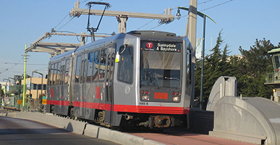 A light rail vehicle on the T Third Street line