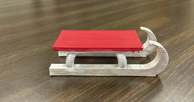 A 5th-grade student created this sled from the book The Giver, by Lois Lowry