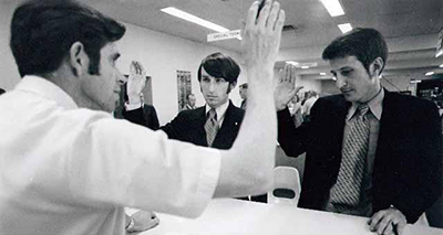 Jack Baker and Michael McConnell apply for a marriage license in Minneapolis, 1970