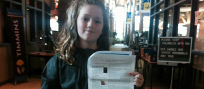Cash Cayen with her petition
