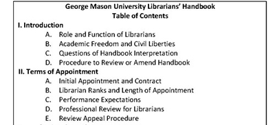 Portion of george Mason University's Librarians' Handbook table of contents