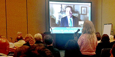 Glenn Greenwald speaks via Skype at the 2015 ALA Annual Conference and Exhibition