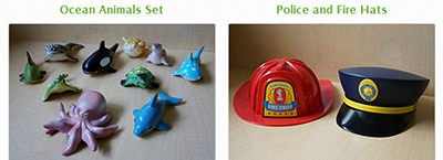 Sample toys lent by Oakland (Calif.) Public Library