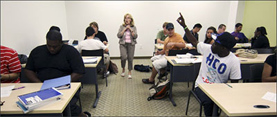 Professor of English Marilyn Curall in a developmental class, College-prep English II (ENC0012), at Valencia Community College West Campus in Orlando, Florida