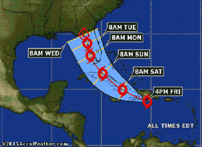 Accuweather.com graphic of Tropical Storm Erika's path.