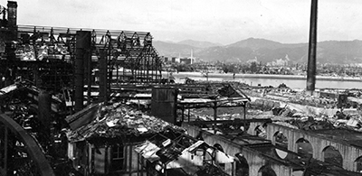 A-bomb damage at Hiroshima, 1945