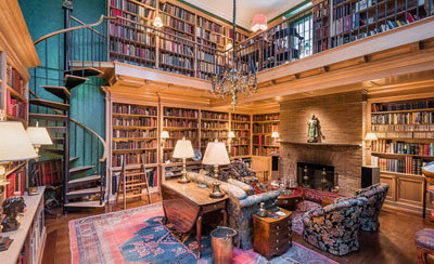 A private library in a Greenwich Village carriage house.