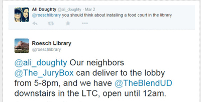 Example of Dayton's @roeschlibrary interacting with one of its Twitter followers
