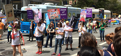Bookmobiles in the San Frnacisco Pride Parade. Photo by Demco