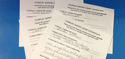 Cosplay Dating Game contestant forms