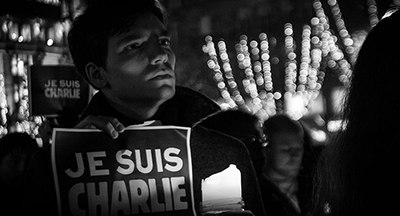 Tribute to Charlie Hebdo in Strasbourg. Image by Ctruongngoc, used CC BY-SA 3.0