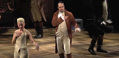 Screenshot from Lin-Manuel Miranda's musical, Hamilton