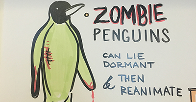 Zombie Penguins can lie dormant and then reanimate