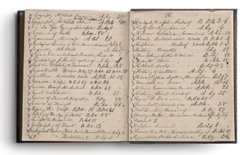 Pages from Lawrence University's handwritten library catalog, circa 1855. Photos: Lawrence University Archives