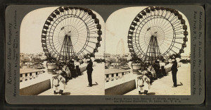 Stereoscopic card showing the Ferris Wheel at the 1904 World's Fair, St. Louis.