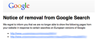 Notice of removal from Google search