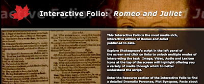 Shakespeare interactive folios