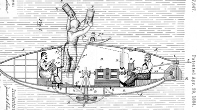 1884 patent for a submarine